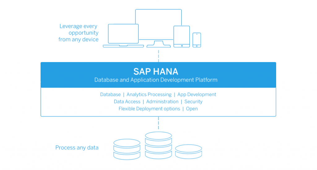 SAP HANA Database and Application Development Platform. Database, Analytics Processing, App Development, Data Acces, Administration, Security, Flexible Deployment options, Open. Process any data