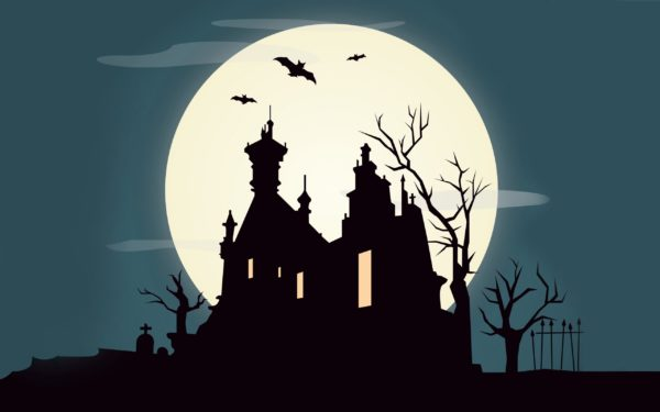 SAP Fiori Halloween theme: old creepy castle with bats and full Moon